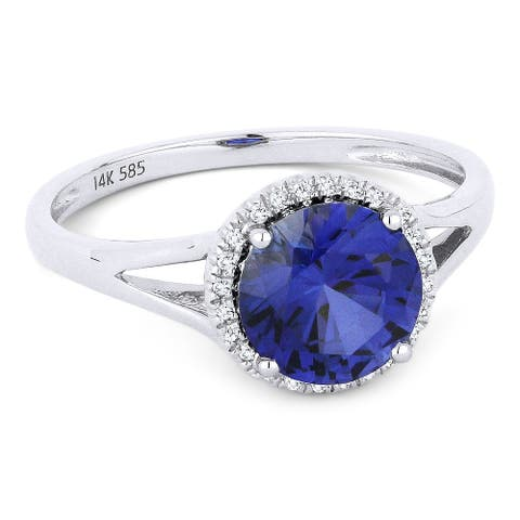 14k White Gold Ring with 1.71-ct Round Created Sapphire and 0.05-ct White Diamonds