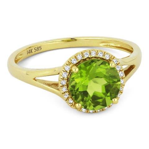 14k Yellow Gold Ring with 1.38-ct Round Peridot and 0.05-ct White Diamonds