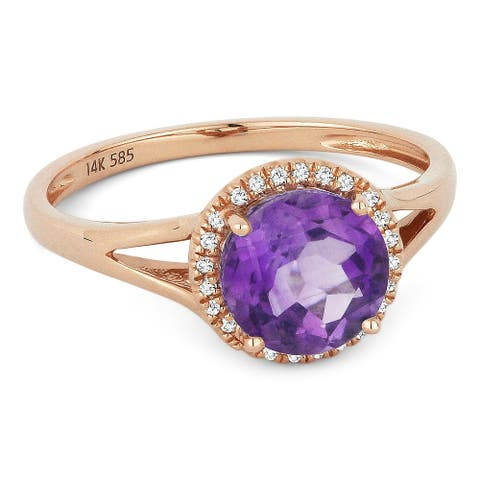 14k Rose Gold Ring with 1.29-ct Round Amethyst and 0.05-ct White Diamonds