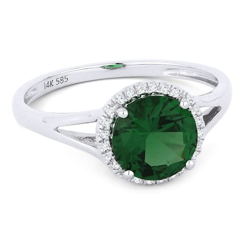 14k White Gold Ring with 1.02-ct Round Spinel and 0.05-ct White Diamonds
