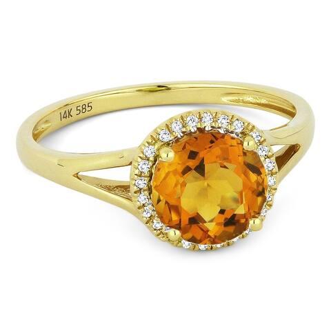 14k Yellow Gold Ring with 1.37-ct Round Citrine and 0.05-ct White Diamonds