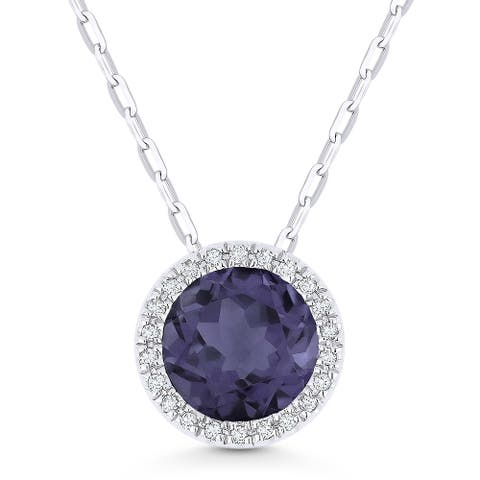 14k White Gold Pendant-Necklace with 1.74-ct Round Color-Changing Alexandrite and 0.05-ct White Diamonds
