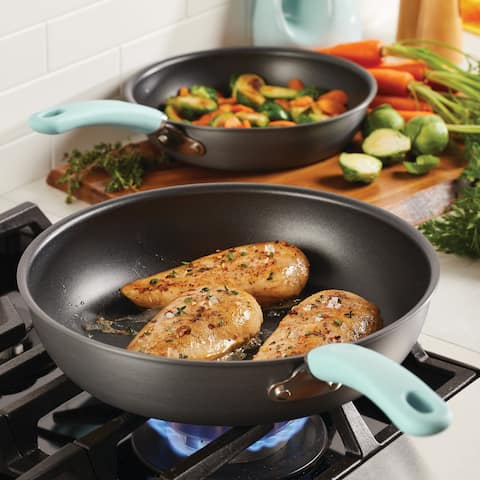 """Rachael Ray Nonstick Deep Skillet Twin Pack, 9.5"""" and 11.75"""", Lt Blue"""
