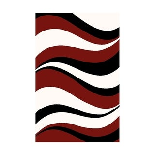 """DiscountWorld Modern Indoor Area Rug for Living Room, Bedroom,Abstract Red, 5x7 - 5'1"""" x 7'3"""""""