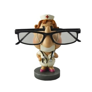 Nurse Wearing White Uniform Eyeglass Holder, Funny Tabletop Figurine Decor Accessory