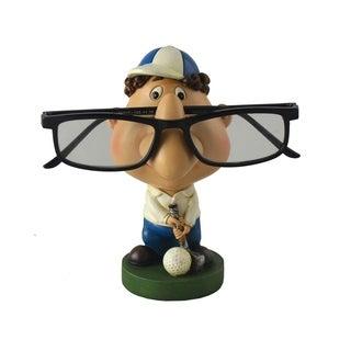 Golfer Eyeglass Holder White & Blue Hat & Pants Green Base Figurine