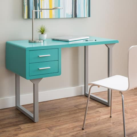Porch & Den Retro Turquoise and Grey Writing Desk