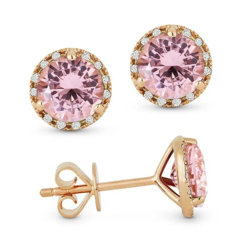 14k Rose Gold Stud Earrings with 1.6-ct Round Created Pink Morganite and 0.07-ct White Diamonds