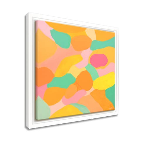 'Cotton Candy' Framed Canvas Tropical Abstract Wall Art