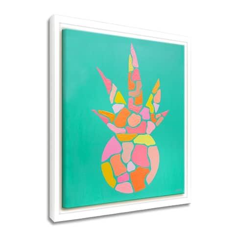 'Paradise Pineapple' Framed Canvas Tropical Wall Art