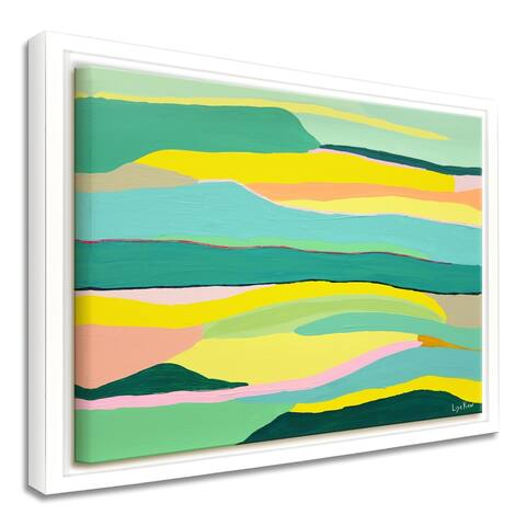 'Boho Landscape' Framed Canvas Tropical Abstract Wall Art