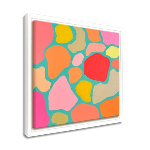 'Turquoise Confetti' Framed Canvas Tropical Abstract Wall Art