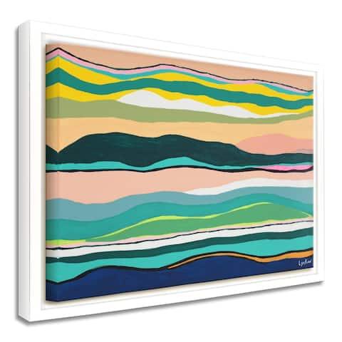 'Boho Sunset' Framed Canvas Tropical Abstract Wall Art