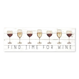 """Find Time for Wine "" Printed Canvas - 36W x 12H x 1.25D"
