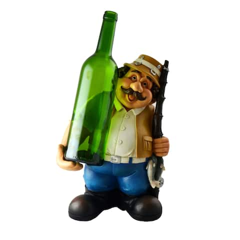 Happy Chubby Fisherman Wine Bottle Holder Tan & Blue Holding Rod & Fish