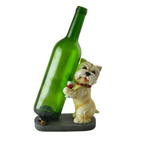 Adorable Yorkshire Terrier Dog Wine Bottle Holder Standing Cute Funny Figurine Tabletop Home Decor Accessory