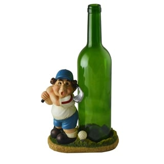 Chubby Golfer Wine Bottle Holder Blue & Green, Funny Figurine Table Top Decor Accessory