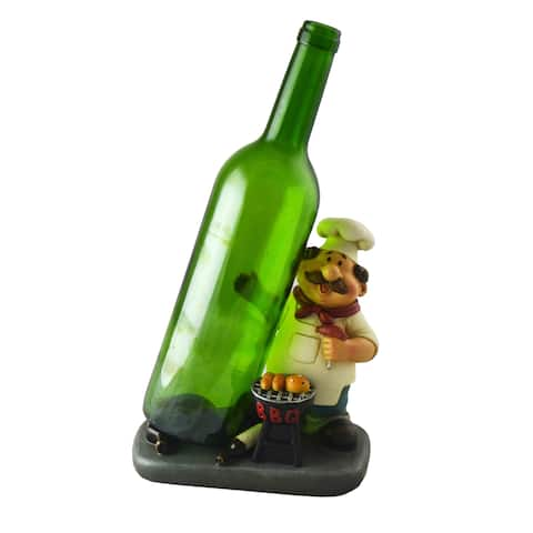 BBQ Grillmaster Wine Bottle Holder Barbeque Chef Funny Figurine Tabletop Decor Accessory