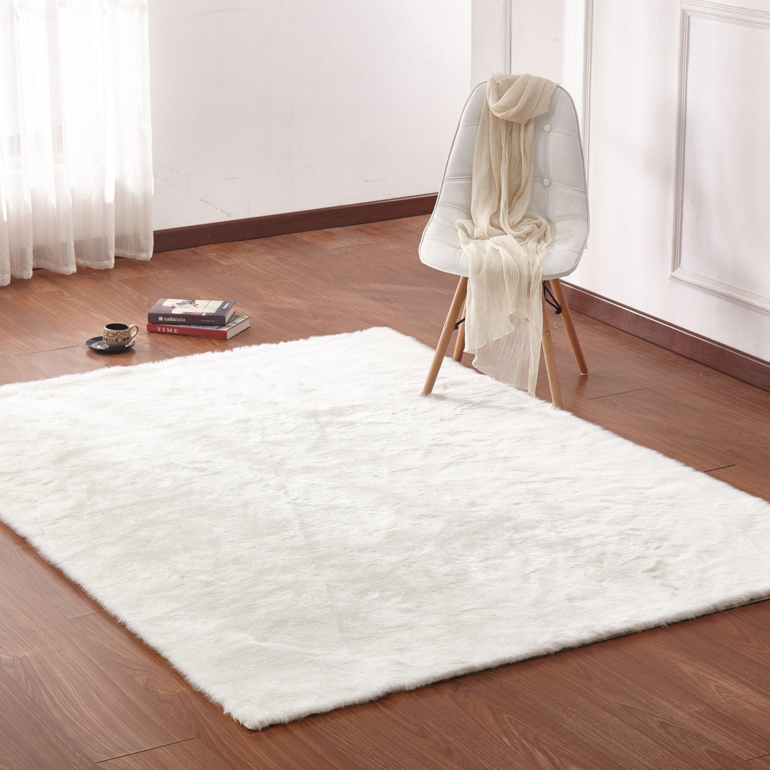 White Faux Fur Rug 8x10