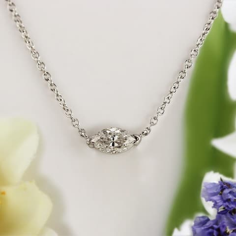 Auriya 3/4cttw East West Marquise Solitaire Diamond Necklace 14k Gold