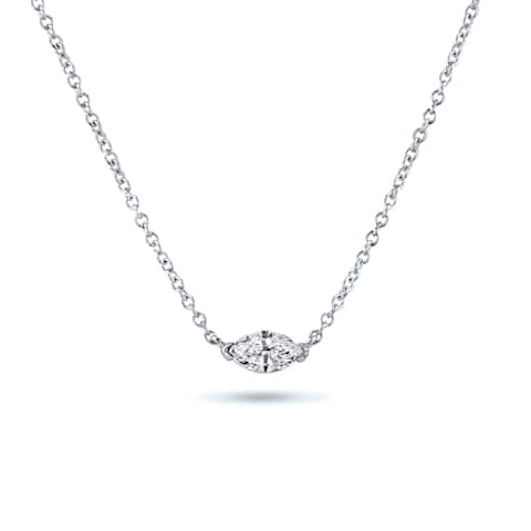 Auriya 1/4cttw East West Marquise Solitaire Diamond Necklace 14k Gold