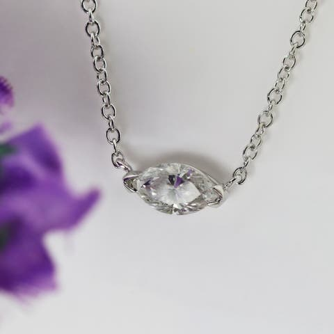Auriya 1cttw East West Marquise Solitaire Diamond Necklace 14k Gold
