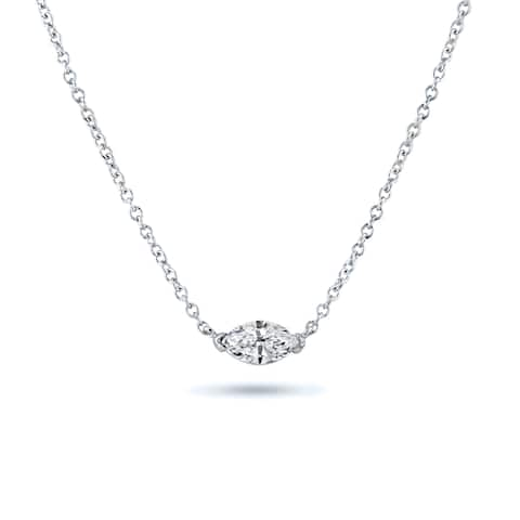 Marquise Soltiaire Diamond Necklace 1/3ctw 14k Gold by Auriya