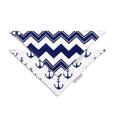 The Peanutshell High Seas Navy 2pk Bandana Bibs