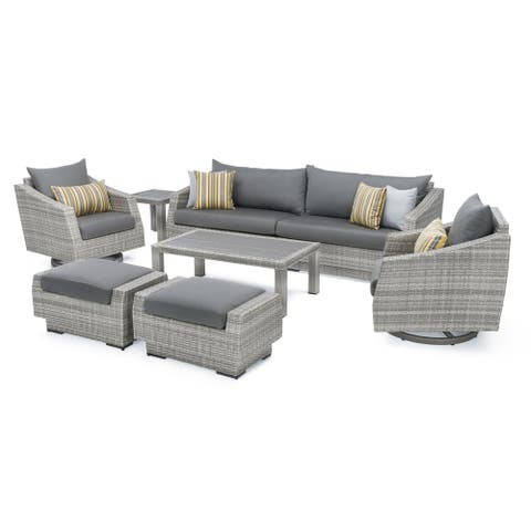 Cannes Deluxe 8pc Sofa & Club Chair Set in Charcoal Gray by RST Brands