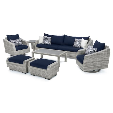 Cannes Deluxe 8pc Sofa & Club Chair Set in Navy Blue by RST Brands