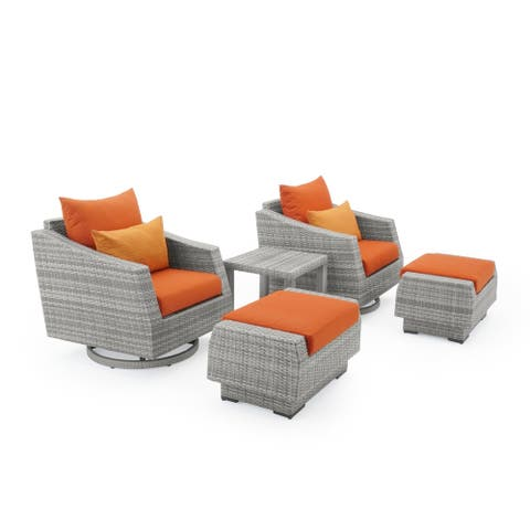 Cannes 5pc Motion Club Chair & Ottoman Set in Tikka Orange by RST Brands