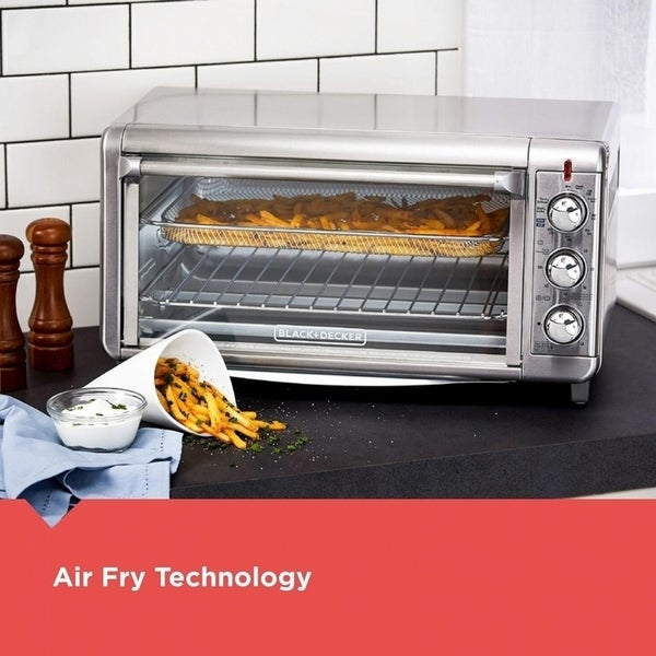 Black+Decker Chrome Silver Toaster Oven w/Air Fry Technology 11.2 in. H x 12 in. W x 21.5 in. L