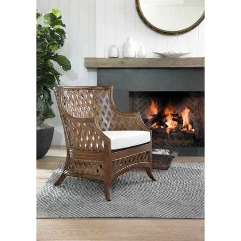 OSP Home Furnishings Kona Chair with Hand Woven Rattan Frame