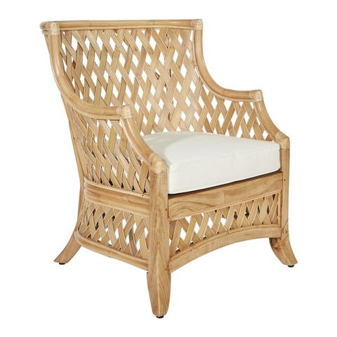 OSP Home Furnishings Kona Chair with Hand Woven Rattan Frame