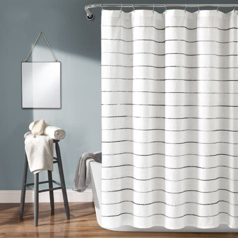 Lush Decor Ombre Stripe Yarn Dyed Cotton Shower Curtain