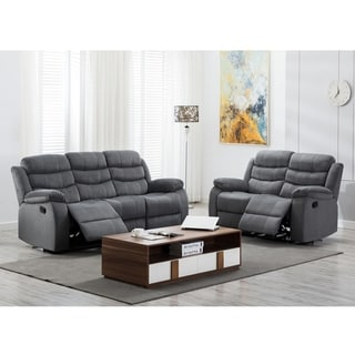 Jim Grey Upholstered Reclining Living Room 32 Piece Sofa Set