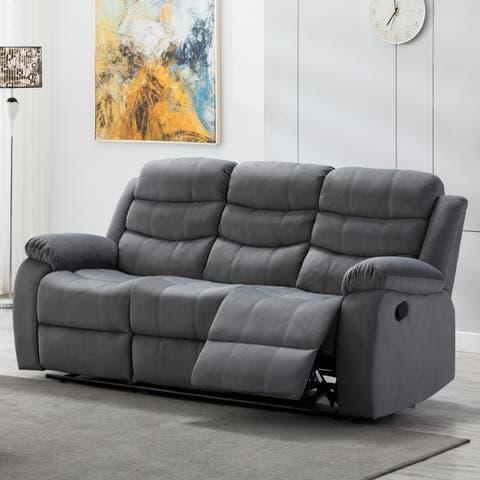Jim Grey Upholstered Reclining Living Room Sofa