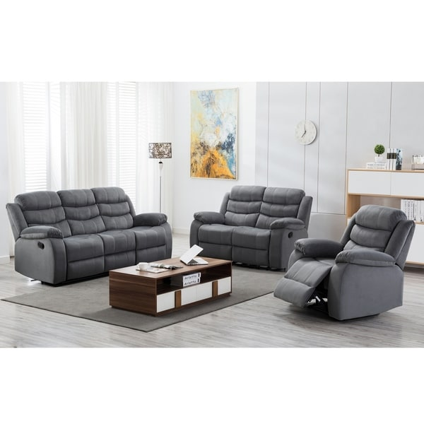 Jim Grey Upholstered Reclining Living Room 3 Piece Sofa Set. Opens flyout.