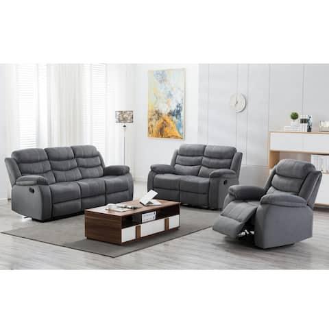 Jim Grey Upholstered Reclining Living Room 3 Piece Sofa Set