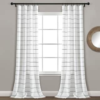 Lush Decor Ombre Stripe Yarn Dyed Cotton Window Curtain Panel Pair