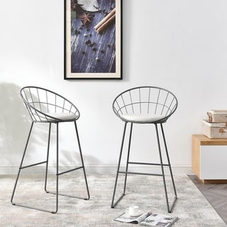Link to Carson Carrington Banne Wrought Iron Modern Extra Tall Barstool (Set of 2) Similar Items in Dining Room & Bar Furniture