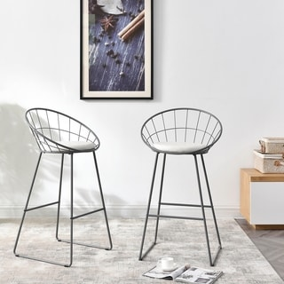 Nordic Wrought Iron Modern Minimalist Extra Tall Barstool Set of 2