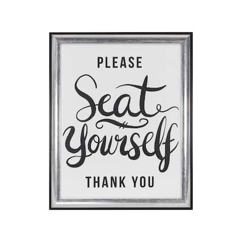 """""""Please Seat Yourself, Thank You"""" Framed Under Glass - 12.5W x 15.5H x 0.98D"""