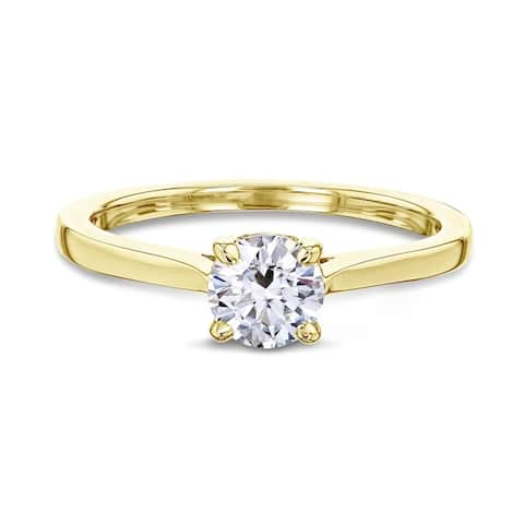 Annello by Kobelli 14k Gold 1/2ct Round Forever One Moissanite Solitaire Petite Engagement Ring (DEF/VS)