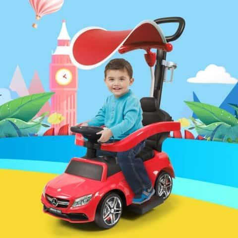 Benz Kids Ride On Push Car Stroller Toddler Wagon w/canopy
