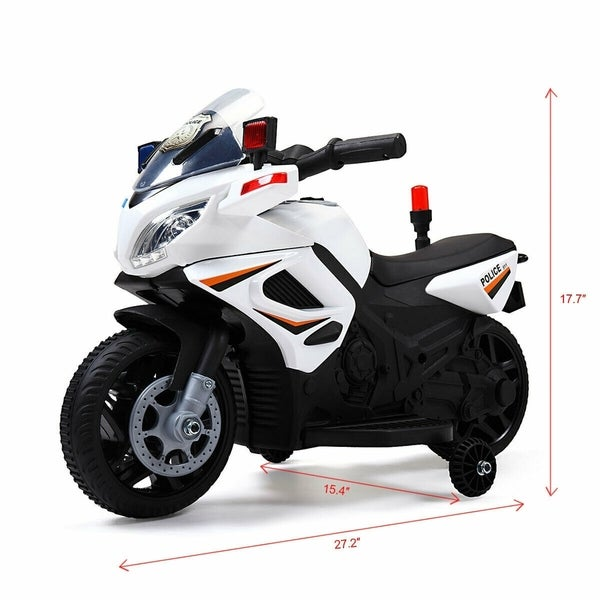 Motorcycle Powered 6V Kids Electric Ride On Toy Car w// 2 Training Wheels White