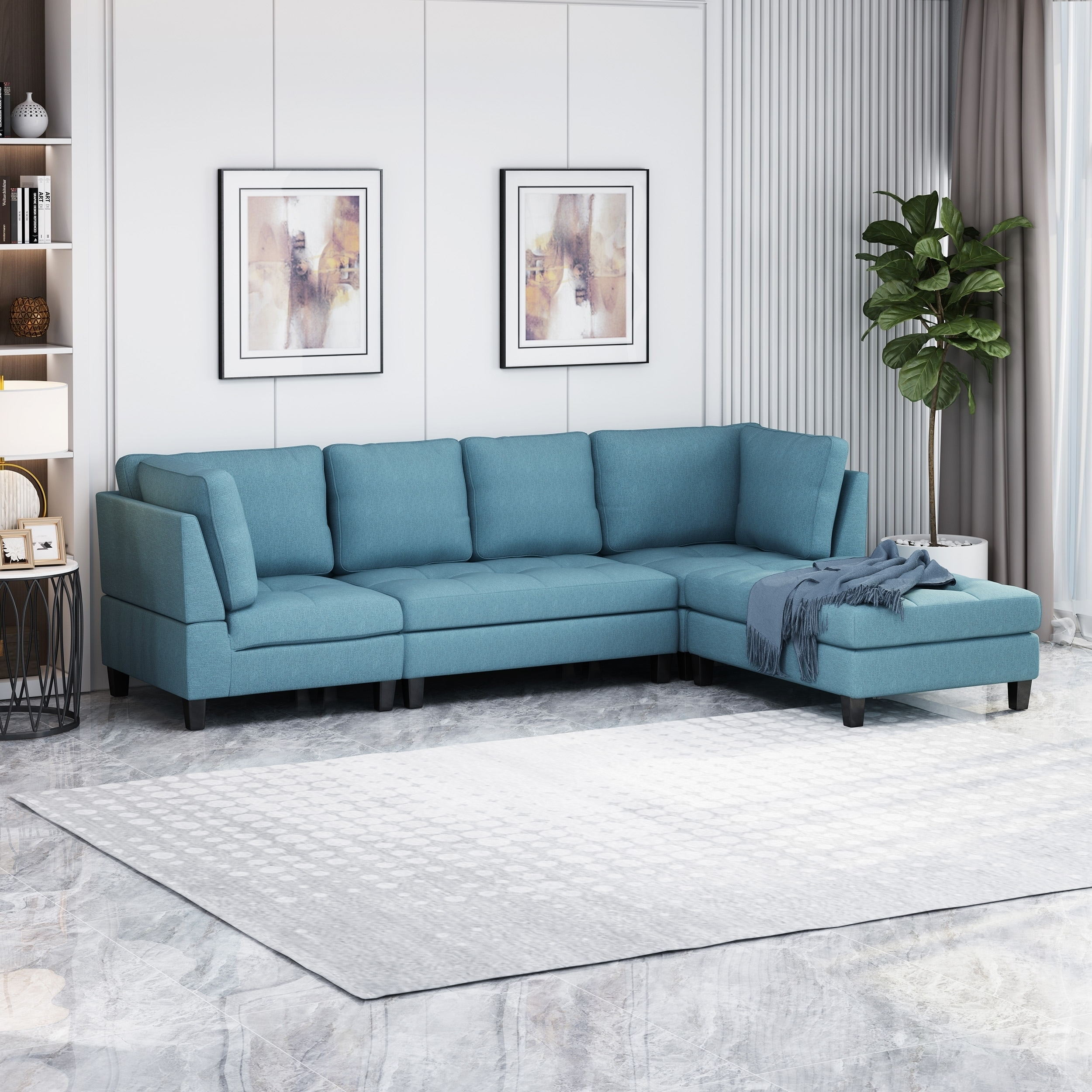 Fabric Sectional Sofa With Ottoman