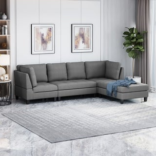 Beckett Contemporary Fabric Sectional Sofa with Ottoman by Christopher Knight Home