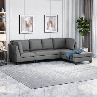 Link to Beckett Contemporary Fabric Sectional Sofa with Ottoman by Christopher Knight Home Similar Items in Living Room Furniture