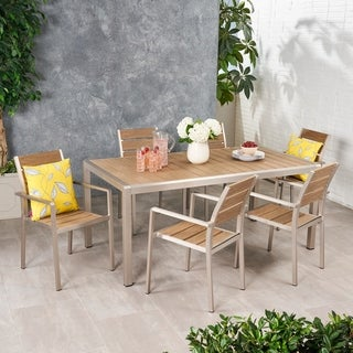 Cape Coral Outdoor Modern 6 Seater Aluminum and Faux Wood Dining Set by Christopher Knight Home